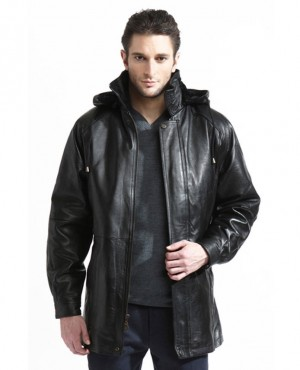 Fashion Italian Men Long Full Length PU Leather Coat