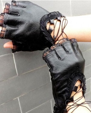 Fashion Lady Spring Summer Winter Black Genuine Half Finger Gloves