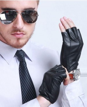 Fashion Men Leather Half Finger Gloves High Quality Sheepskin