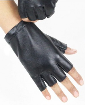 Fashion Men Thin Breathable PU Leather Punk Hip Hop Dance Gloves