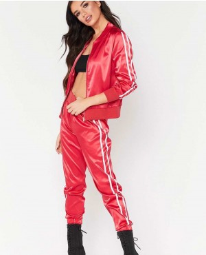 Fashion Polyester Spandex Fitness Sport Set Side Stripe Tracksuit
