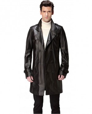 Fashion Winter Patchwork Leather Long Coat Gents