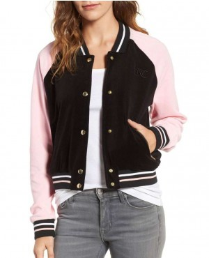 Fashionable Color Block Velour Track Varsity Jacket