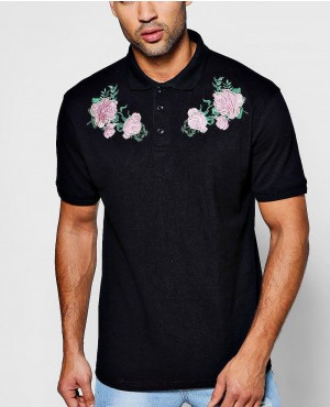Fashionable Twin Floral Embroidered Polo