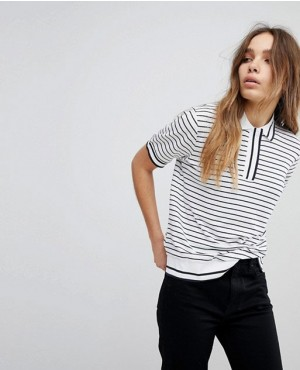 Fashionable Women Polo Shirt With Black Stripped