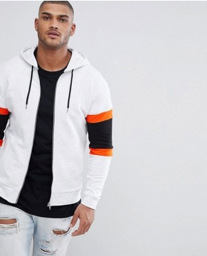 Fashionable Zip Up Hoodie With Colour Blocking