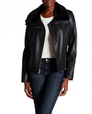 Faux Fur Trimmed Faux Leather Jacket