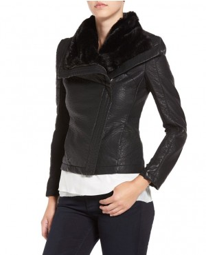 Faux Leather Jacket with Faux Shearling Trim