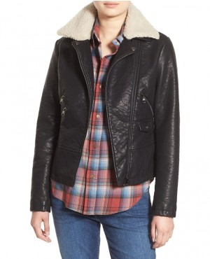 Faux Leather Moto Jacket with Faux Shearling Collar