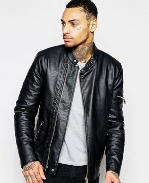Faux Leather Racing Biker Jacket