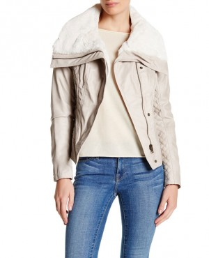 Faux Shearling Collar Faux Leather Moto Jacket