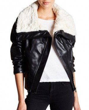 Faux Shearling Collar Faux Leather Moto Jackets