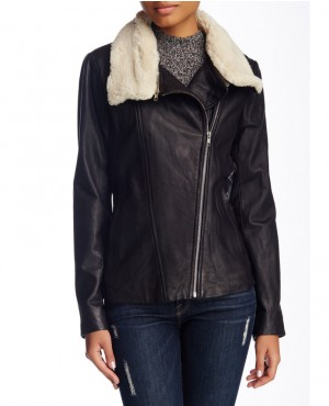 Faux Shearling Collar Leather Moto Jacket