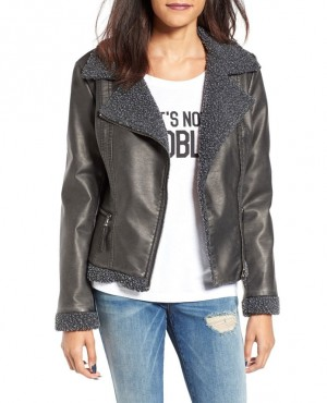 Faux Shearling Faux Leather Jacket