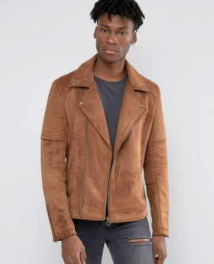 Faux Suede Biker Jacket In Tan