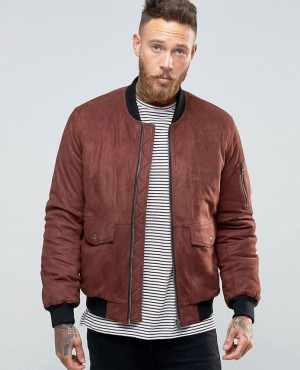 Faux Suede Bomber with Patch Pocket In Burgundy