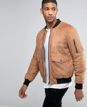 Faux Suede Bomber with Patch Pocket In Tan