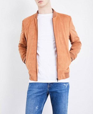 Faux Suede Custom Ribbing Bomber Leather Jacket