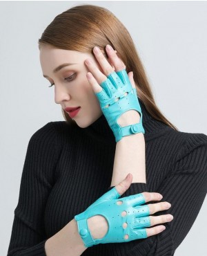 Fingerless Gloves Driving Motorcycle Warm Blue Unlined