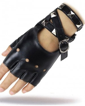 Fingerless PU Leather Gloves Lady Punk Party Show Black