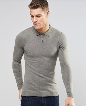 Fitted Fit Knitted Polo in Cotton
