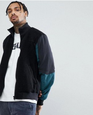 Fleece Track Jacket In Black