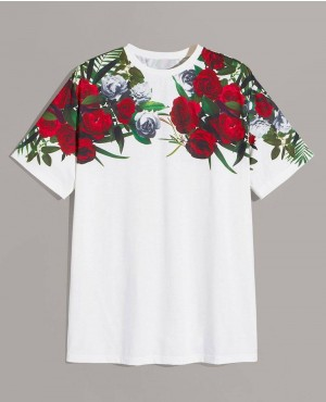 Floral Pattern Sublimated Print Tee