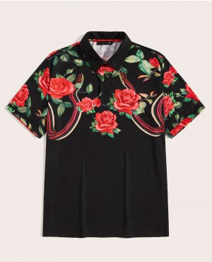 Flower And Snake Sublimated Polo Shirt