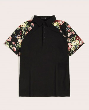 Flower Painted Raglan Sleeve Polo Shirt