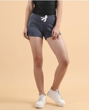 Flying Machine Applique Women Blue Basic Shorts