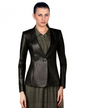Formal Stylish Women Leather Custom Blazers