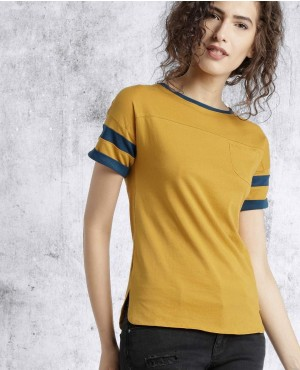 Front Pocket And Sleeves Stripes T Shirts