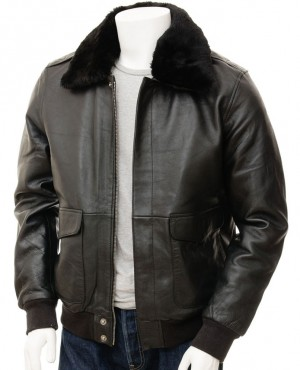 Fur Shearling Real Sheepskin Bomber Leather Jacket