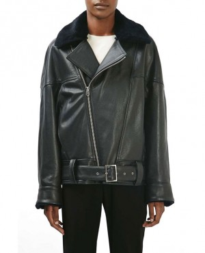 Genuine Lamb Fur Collar Leather Jacket