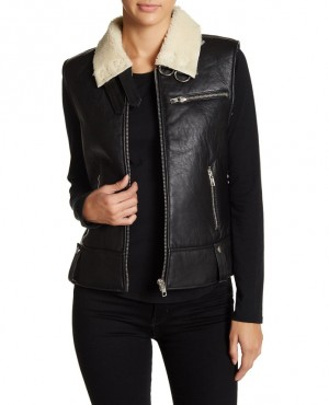 Genuine Leather Faux Shearling Sleeveless Vest