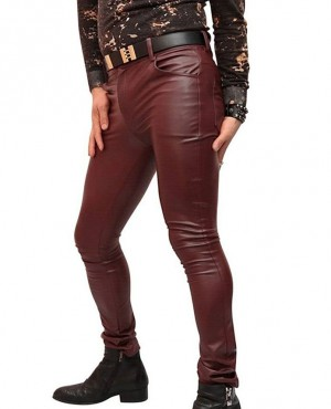 Genuine Leather Gay Skinny Tight Leather Pant