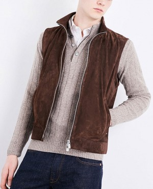 Genuine Suede Leather Custom Men Vest