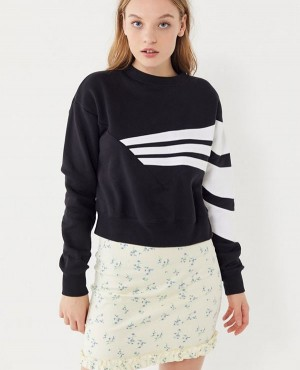 Geometric 3 Stripe Cropped Sweatshirt
