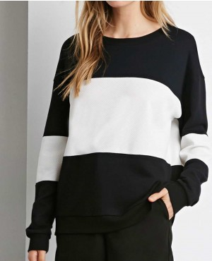 Girls Black and White Side Zipper Sweatshirt