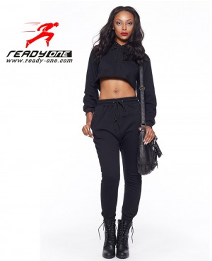 Girls Black Crop Top Sweatsuit