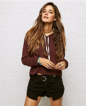 Girls Burgundy Pullover Crop Top