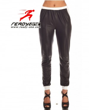 Girls Front PU Leather Sweatpant