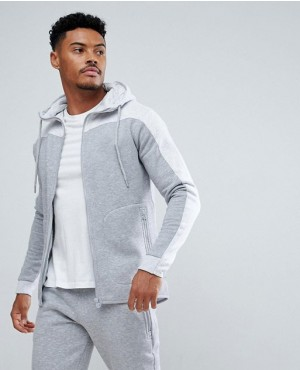 Grey And White Hoodie With Zipper Pocket