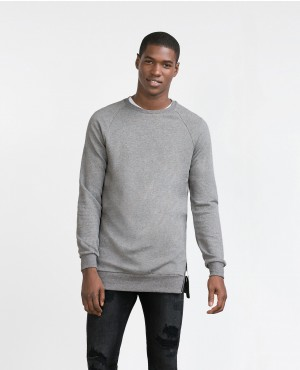Grey Crewneck with Side Slits Metal Zippers
