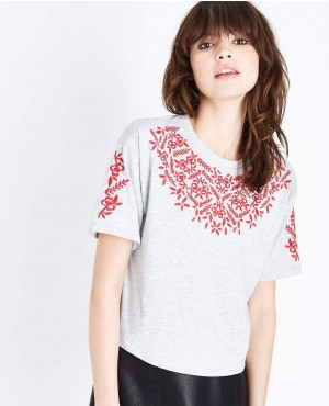 Grey Cross Stitch Embroidered T Shirt