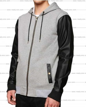 Grey Hoodie with PU Leather Sleeves