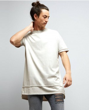 Grey Layered Longline T Shirt