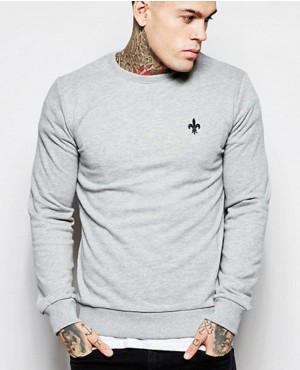 Grey Skinny Fit Sweatshirt with Raglan Sleeves
