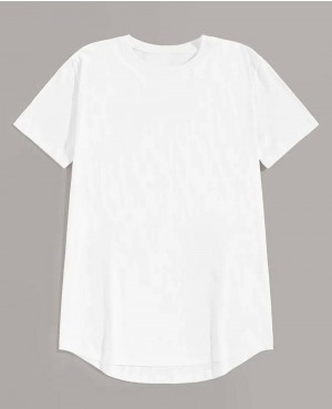 Guys Asymmetric Hem Solid Basics Tee