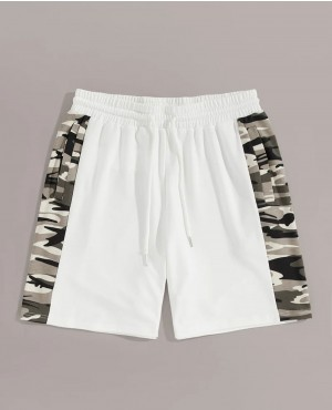 Guys Camo Panel Drawstring Waist Shorts